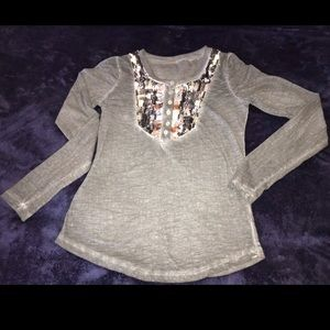 FREE PEOPLE Grey Top with Sequined Accent
